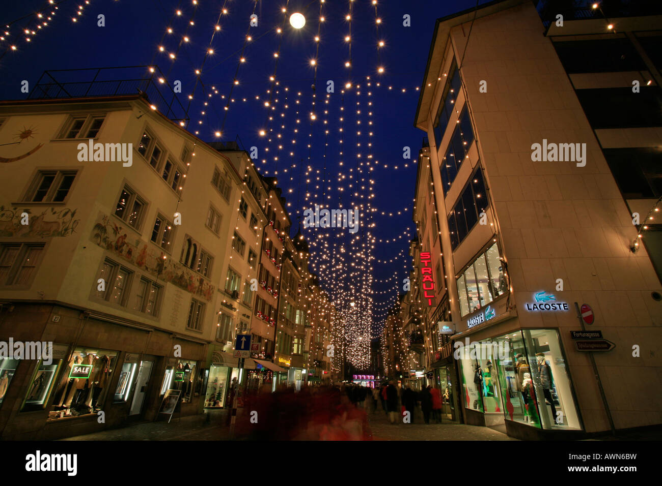 84e1d0d4e9db8 Classic Christmas illumination in the city center, Rennweg, Zurich,  Switzerland - Stock Image