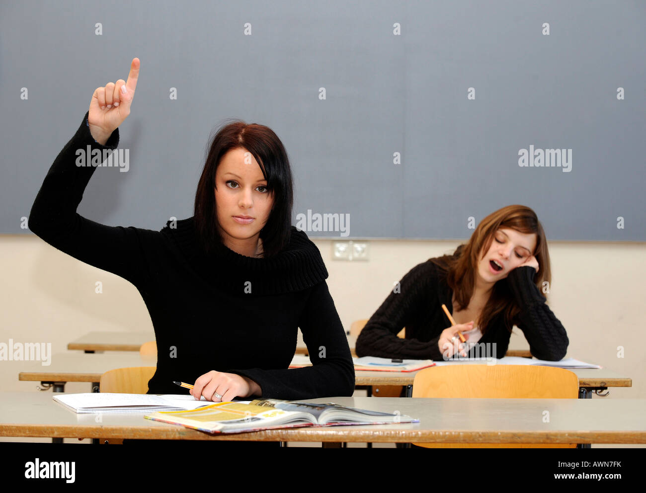 Female pupils / students Stock Photo