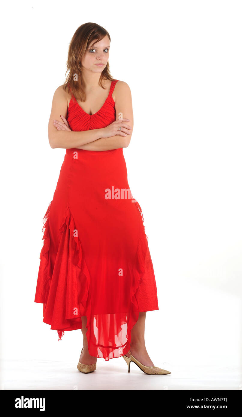 Young woman in red dress Stock Photo