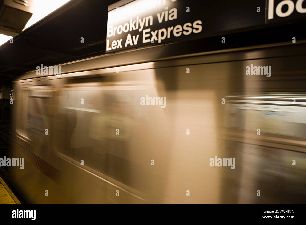 Subway train in motion - Stock Image