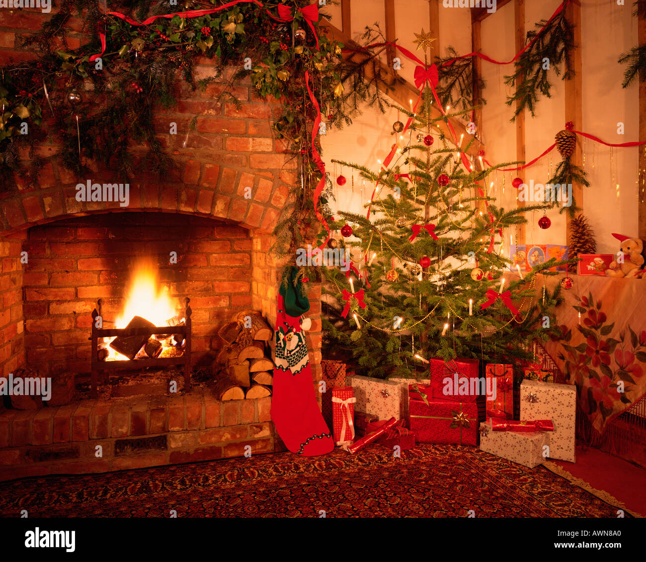 Traditional Christmas.Traditional Christmas Tree Decorations Open Log Fire Stock