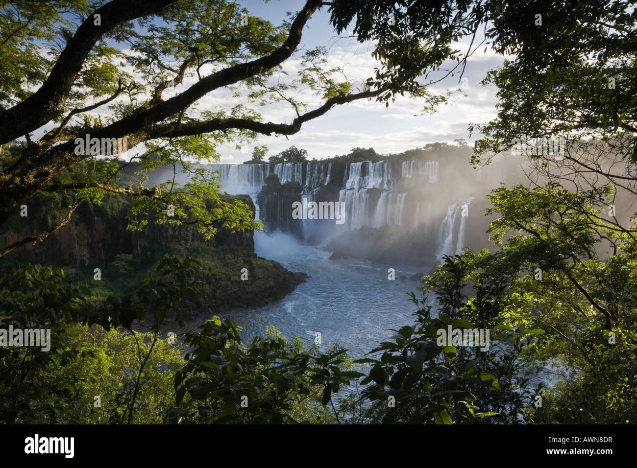 Gentle streaming light on the stunning Iguazu Falls of Argentina, Brazil and Paraguay - Stock Image