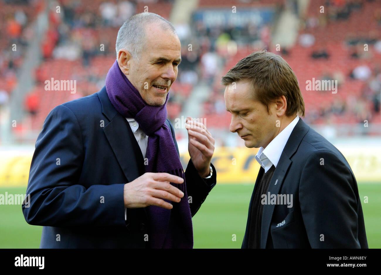 Conversation between manager Rolf DOHMEN Karlsruher SC and manager Horst HELDT VfB Stuttgart, Germany - Stock Image