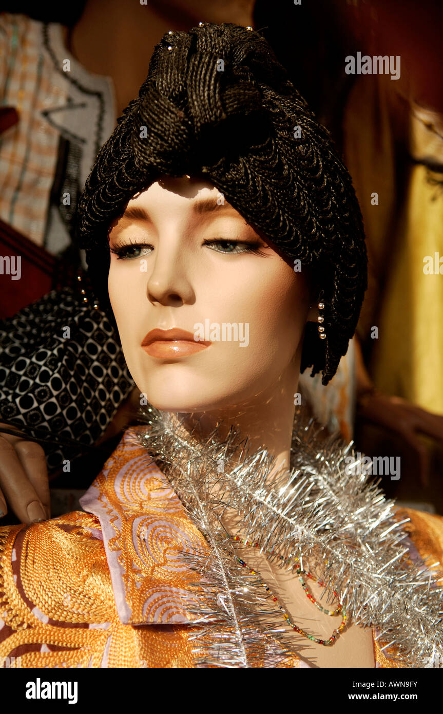 Female mannequin wearing black knit cap, Nuremberg, Middle Franconia, Bavaria, Germany, Europe - Stock Image
