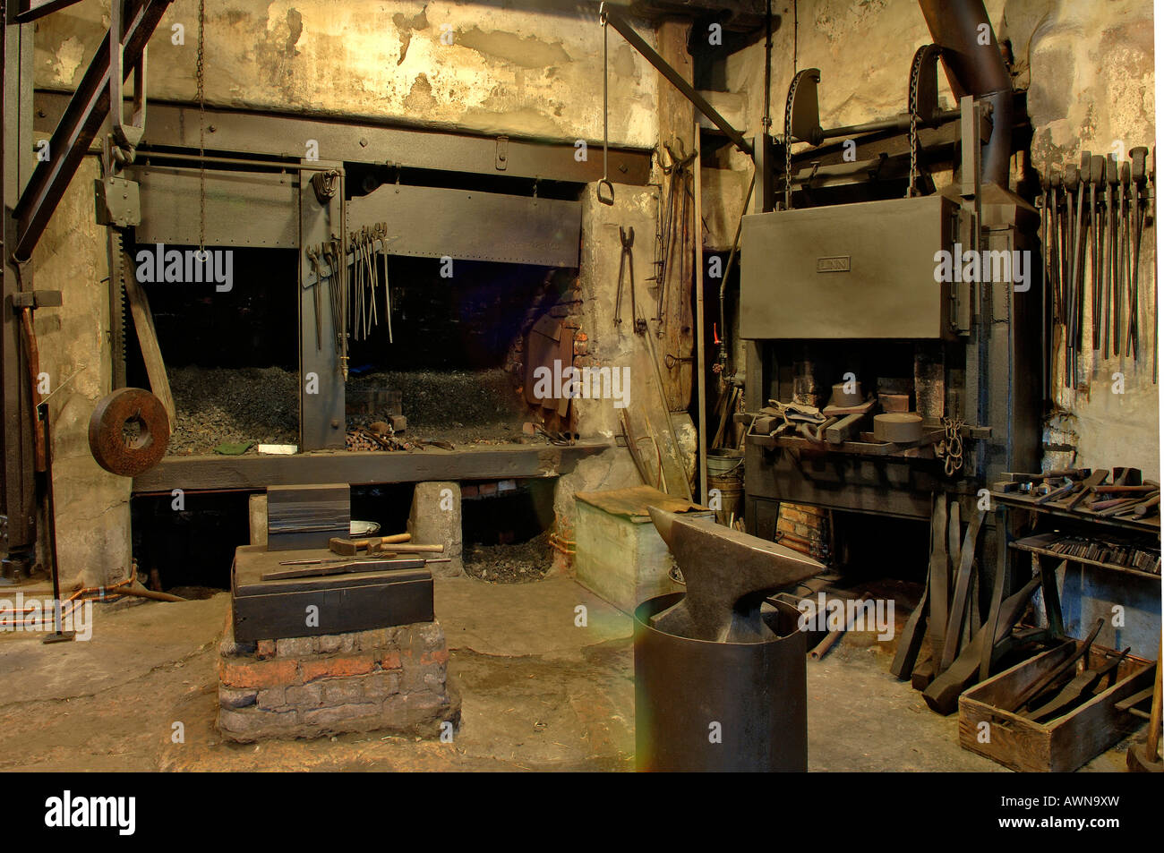 Forge, 1920s blacksmith's shop, Industriemuseum, Lauf an der Peignitz, Middle Franconia, Bavaria, Germany, Europe - Stock Image