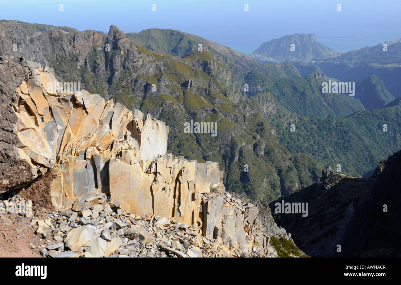 Mountain landscape, central mountains, Madeira, Portugal, Atlantic Ocean - Stock Image