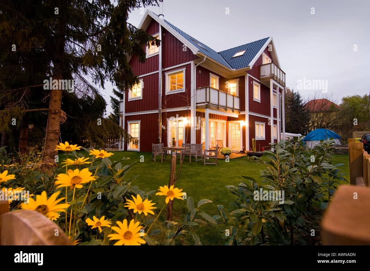 Low-energy house, Kleinmachnow, Brandenburg, Germany - Stock Image