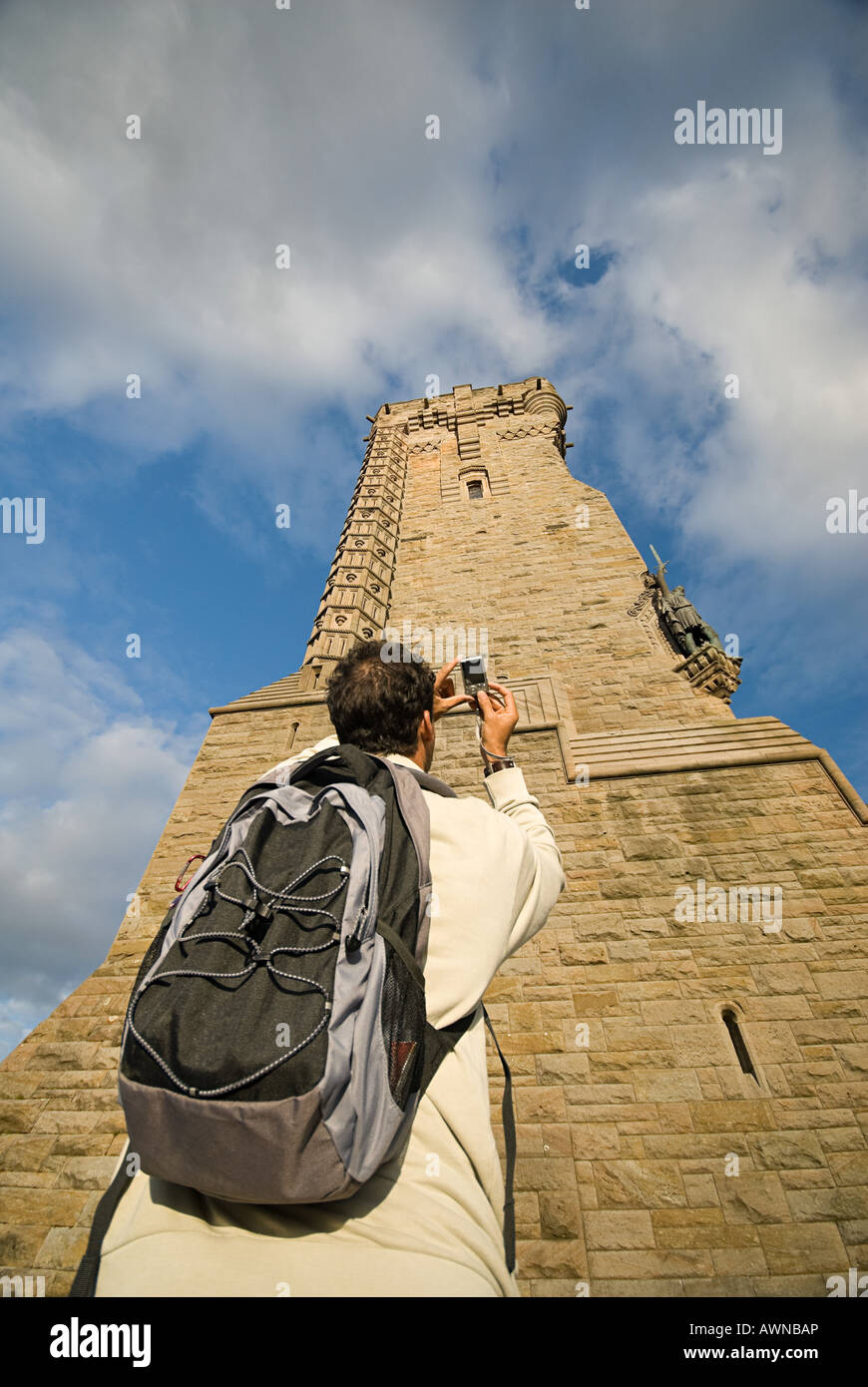 Man photographing wallace monument - Stock Image