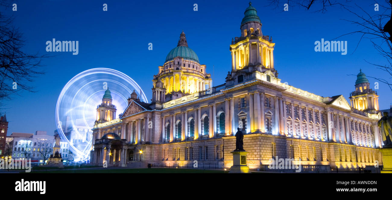 Belfast city hall and big wheel at night Belfast county Antrim Northern Ireland - Stock Image