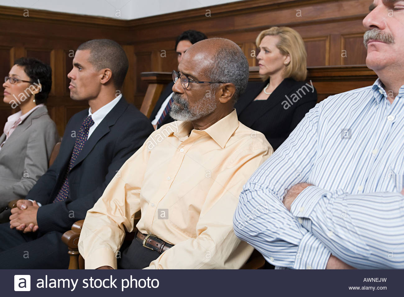 Jurors in the jury box Stock Photo
