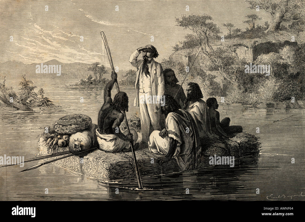 Journey in Abyssinia. 19th century print engraved by C Laplante from an illustration by Emile Bayard Stock Photo