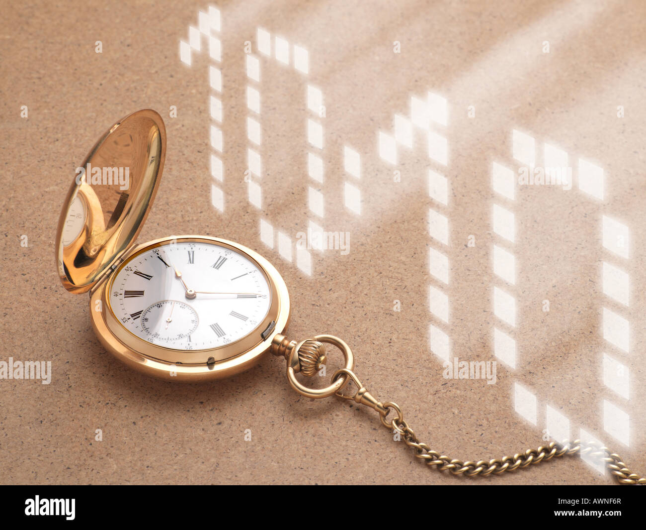 Pocket watch and digital time - Stock Image