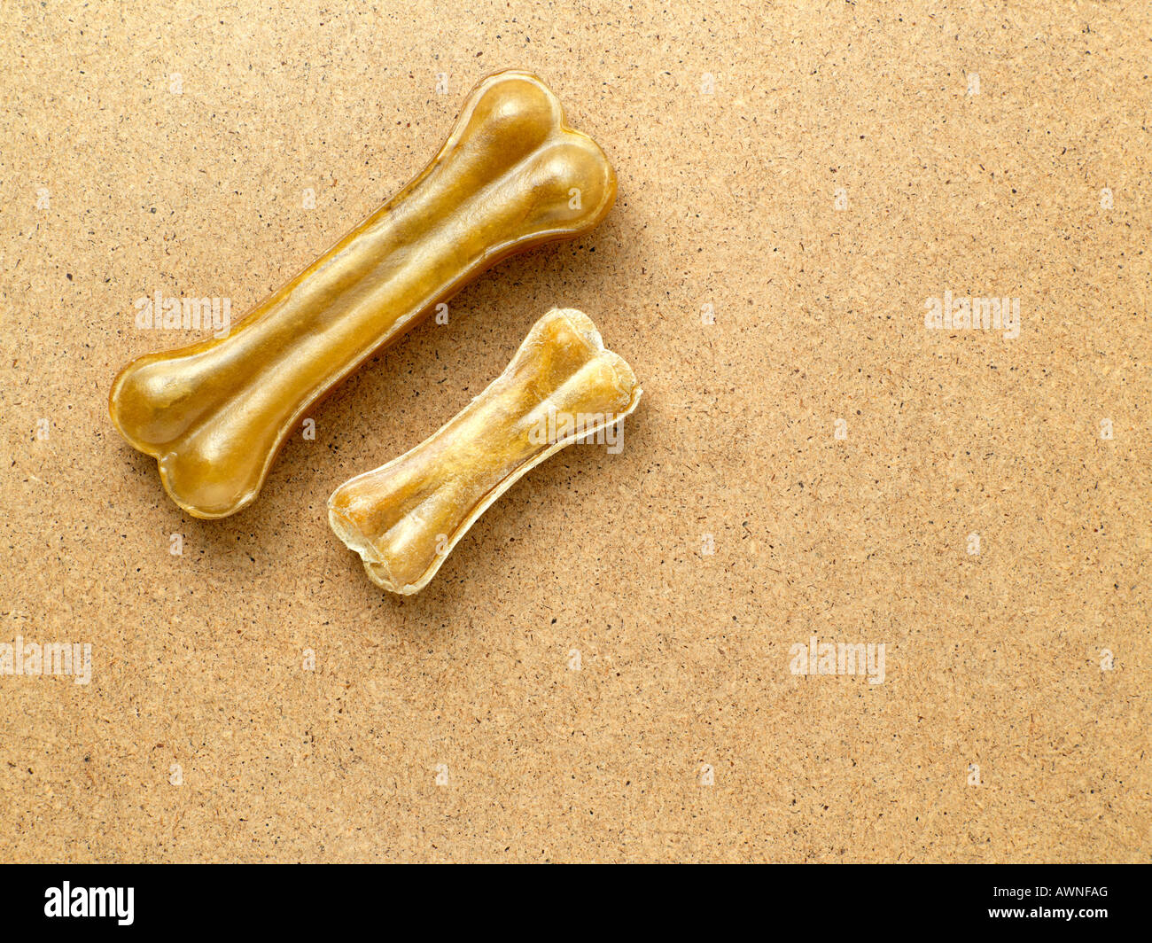 A large and small dog bone - Stock Image