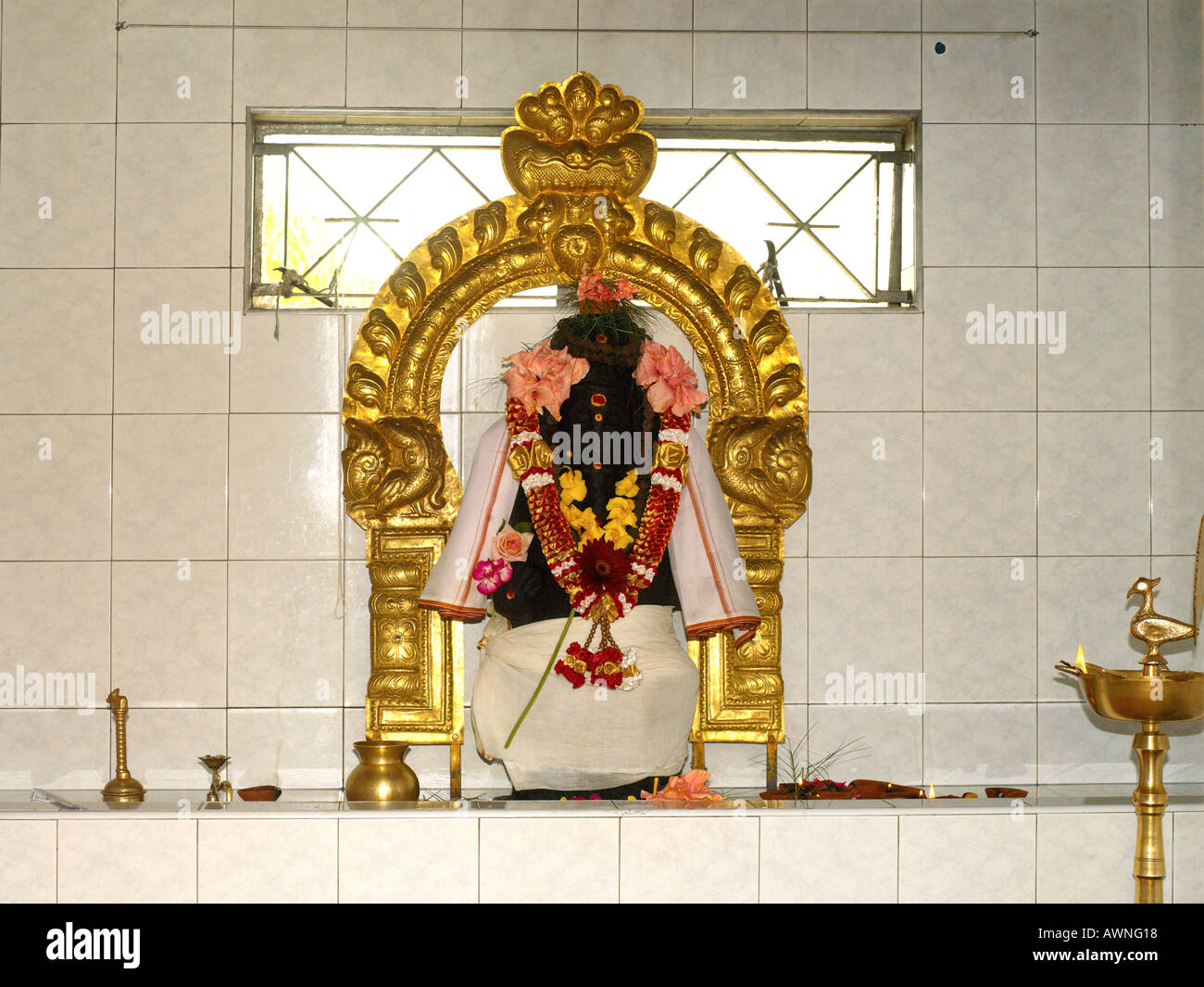 Mauritius Hindu Statue of Shiva in Tamil Temple - Stock Image