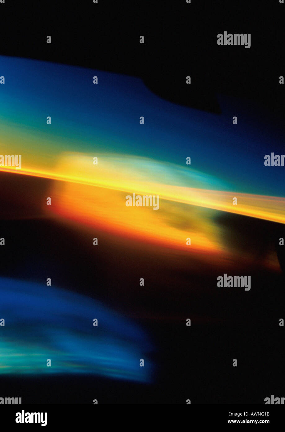 Light effect, reds, yellows and blues. - Stock Image