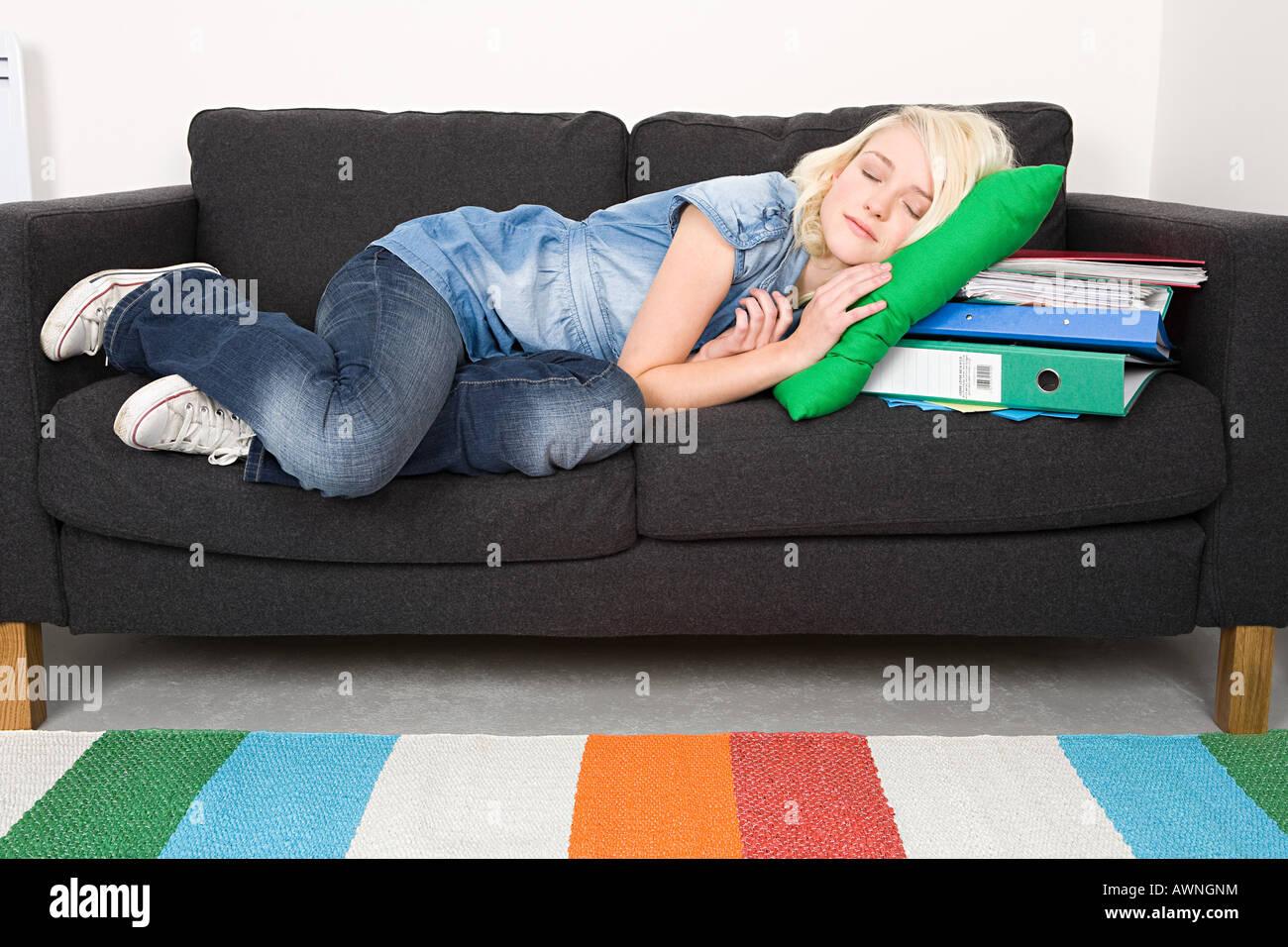 Enjoyable Female Student Sleeping On Sofa Stock Photo 16623295 Alamy Machost Co Dining Chair Design Ideas Machostcouk