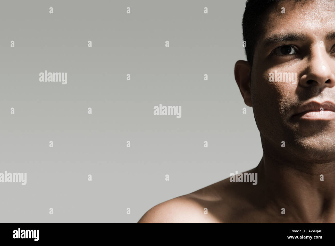 Cropped head and shoulders of a man - Stock Image