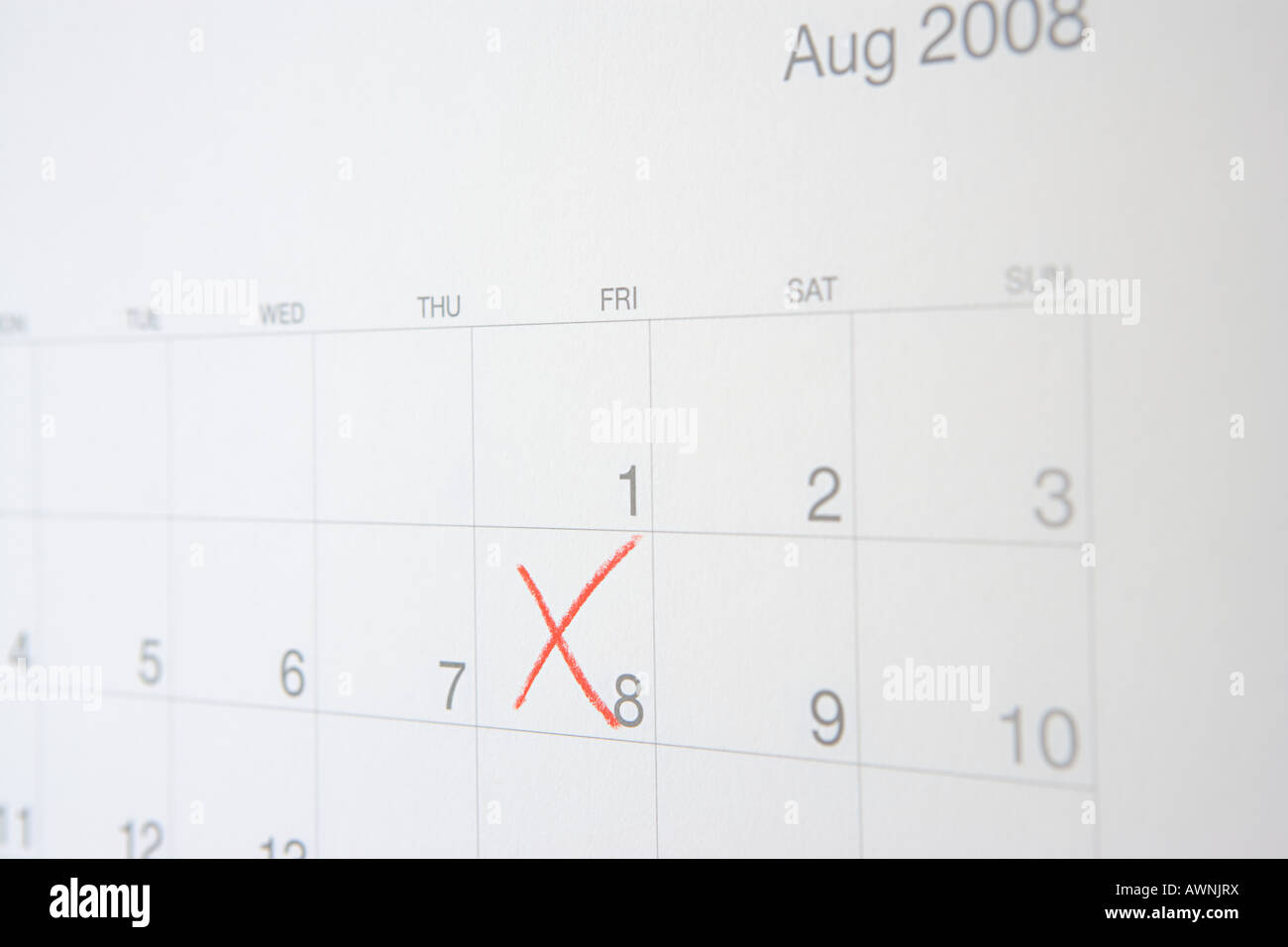 Number eight crossed on a calendar - Stock Image