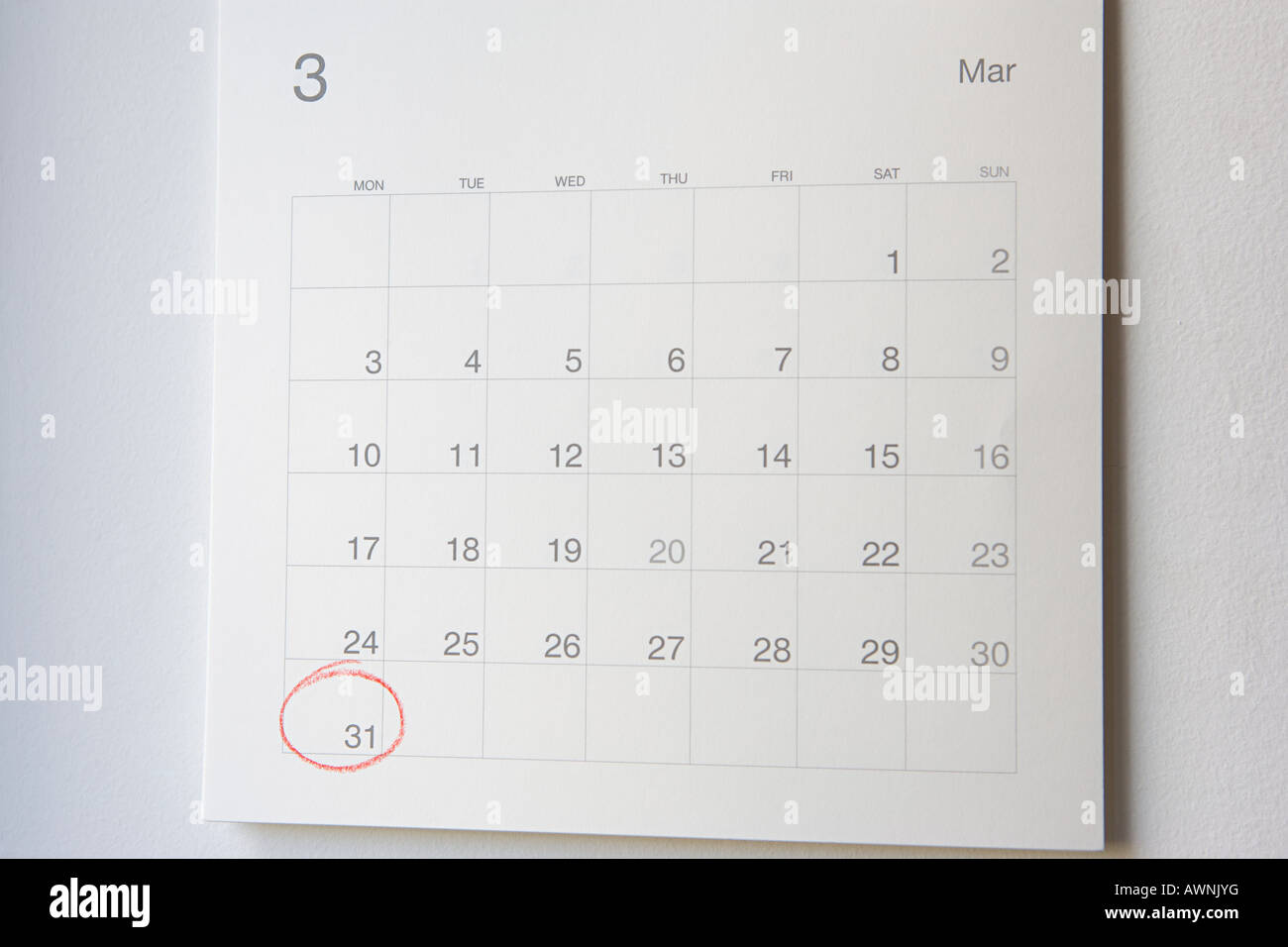 Number thirty one circled on a calendar - Stock Image