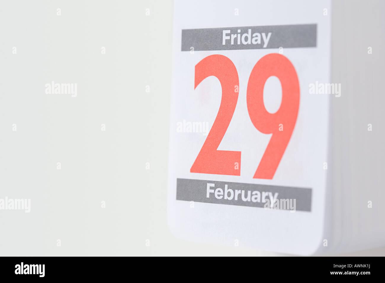 Twenty ninth february on a calendar - Stock Image