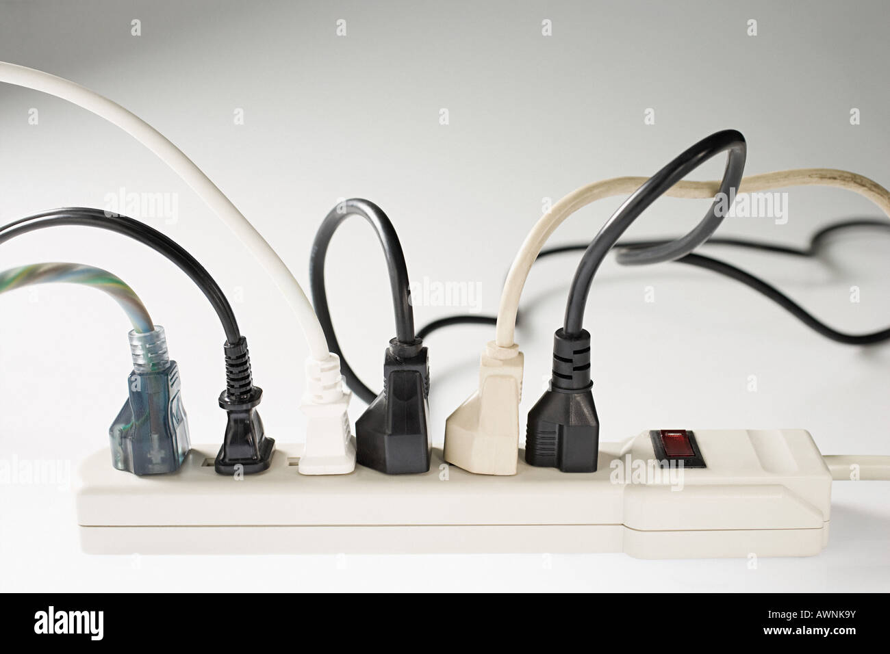 Electric plugs and electrical sockets Stock Photo