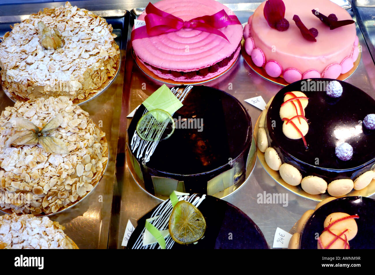 French Food, France Shopping Bakery Store French Cakes 'Gaulupeau' Pastries Display - Stock Image
