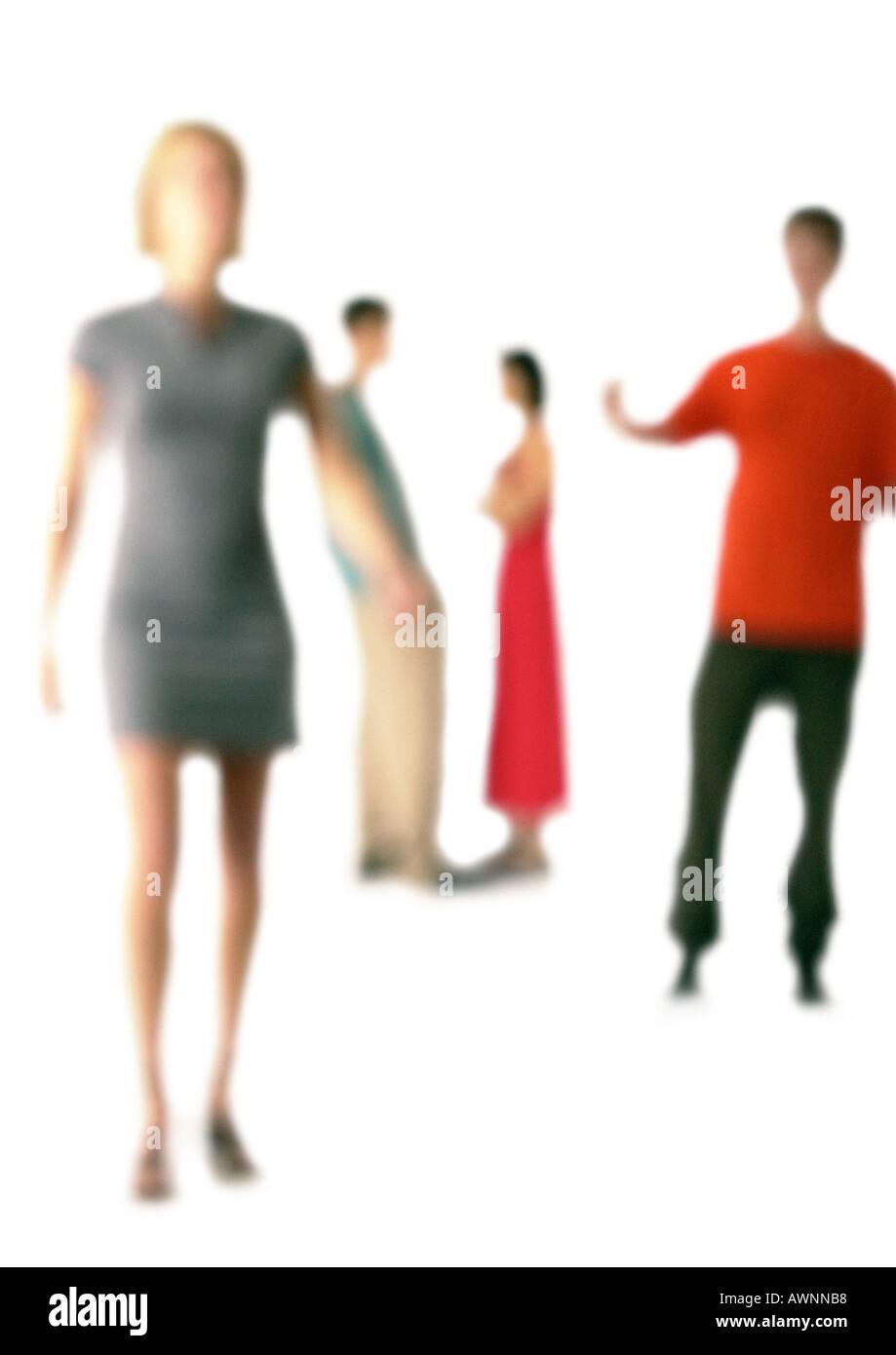 Silhouette of four people, white background, defocused - Stock Image