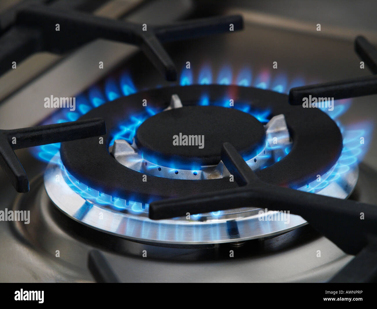 closeup of blue gas flame of stainless smeg cooker stove - Stock Image