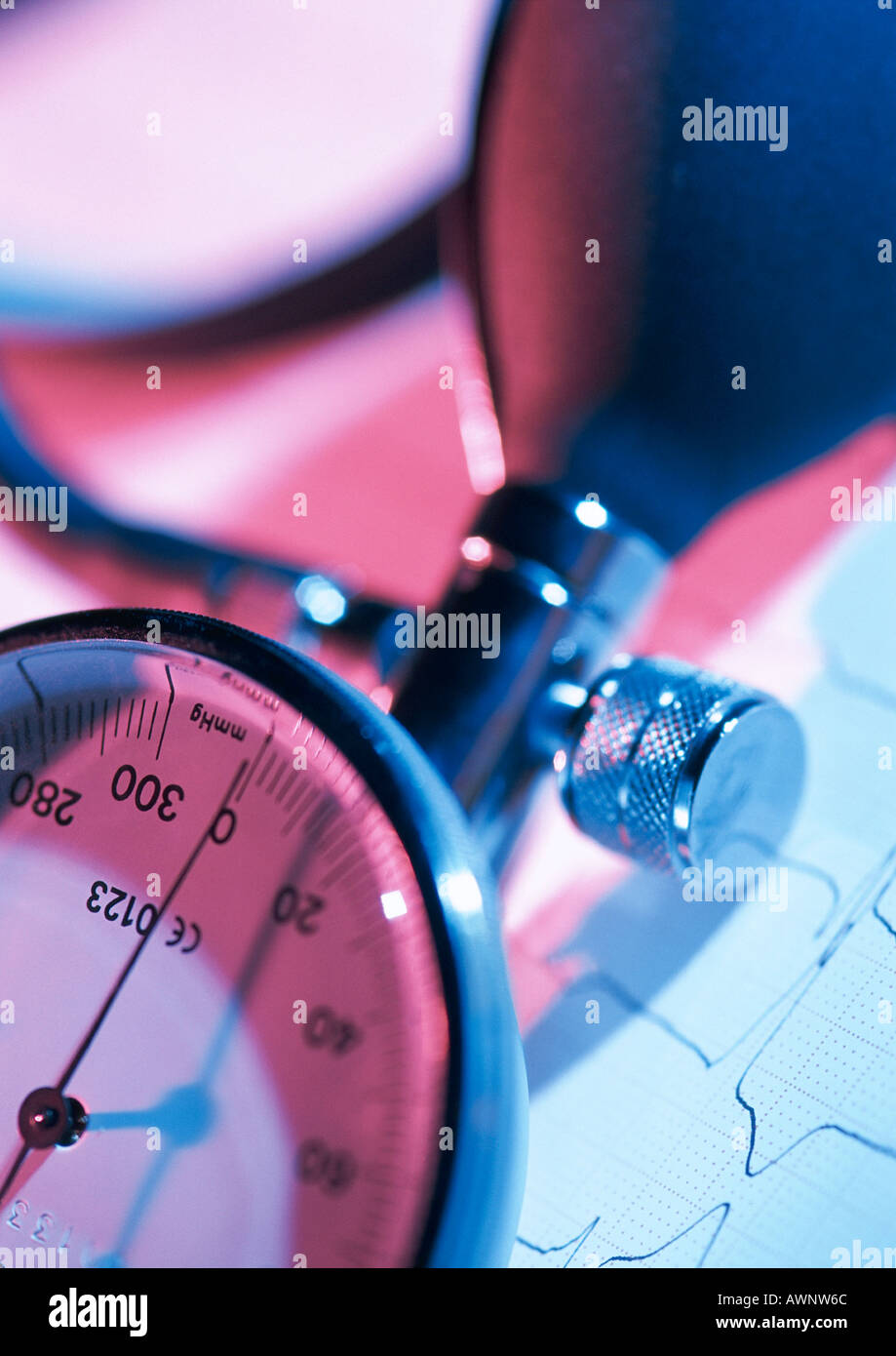 Sphygmomanometer (instrument for measuring blood pressure), partial view, close-up - Stock Image
