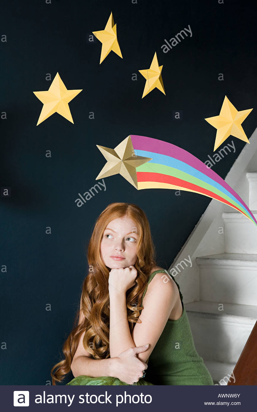 A woman thinking - Stock Image