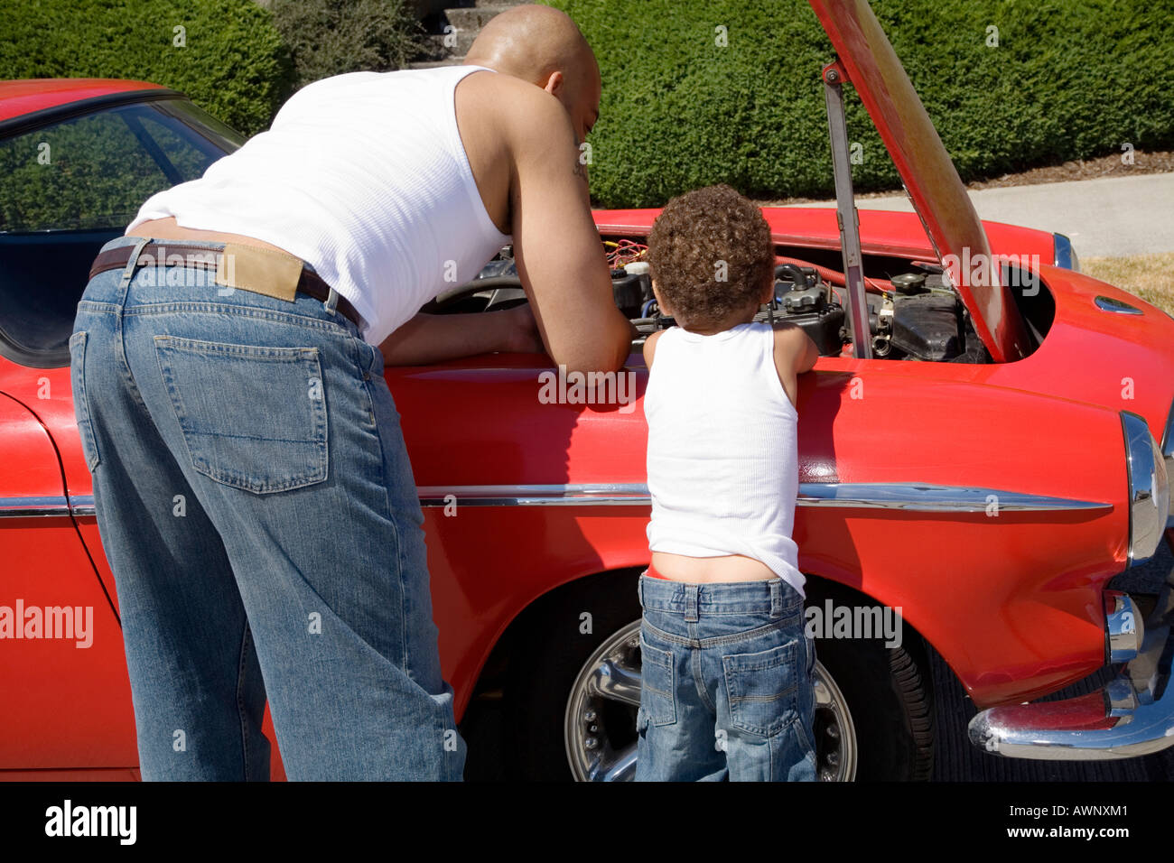 Father and son examining under car hood - Stock Image