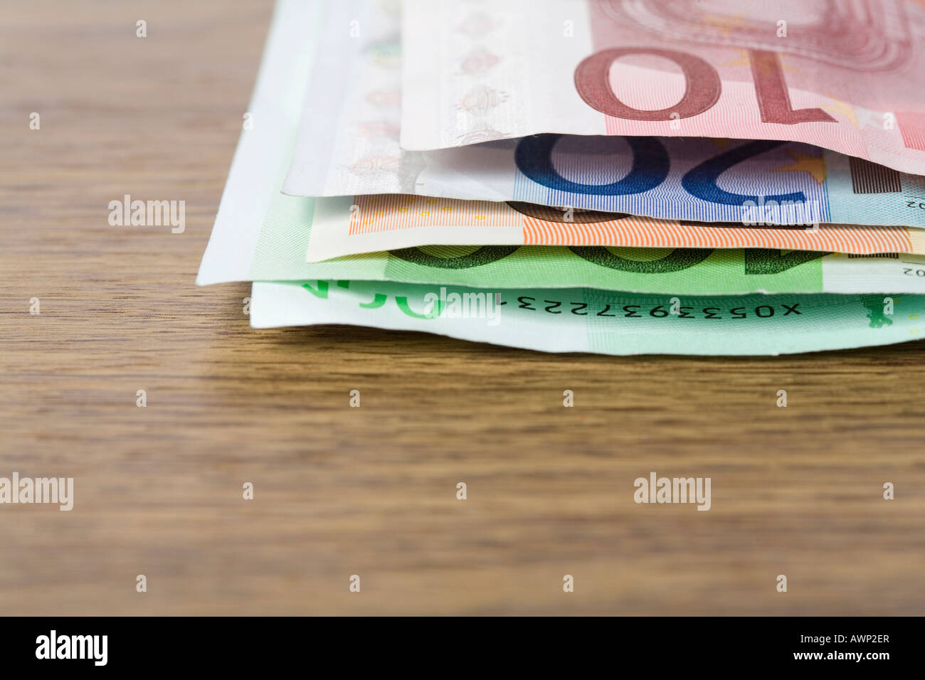 Euro notes on a table - Stock Image