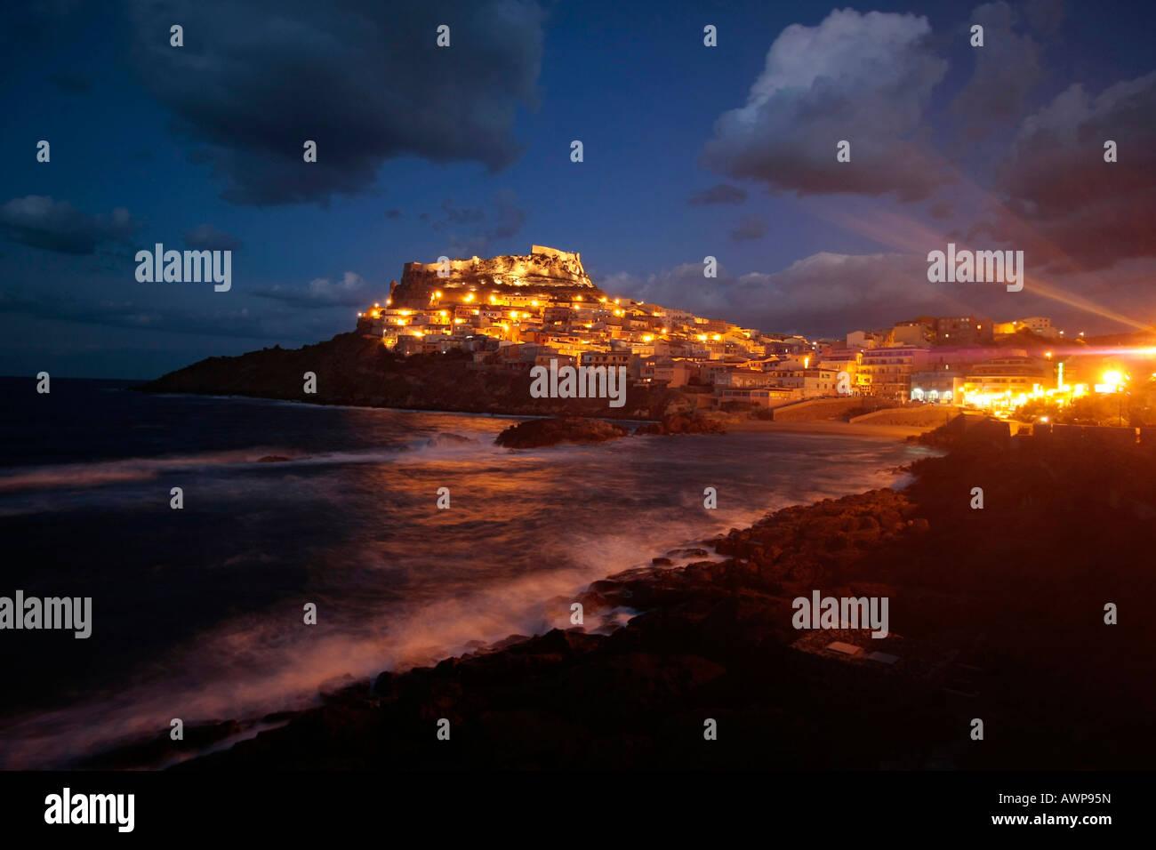 Castelsardo at night, Sardinia, Italy, Europe Stock Photo