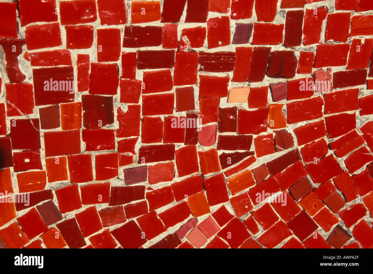 A shot of red mosaic tiles. - Stock Image
