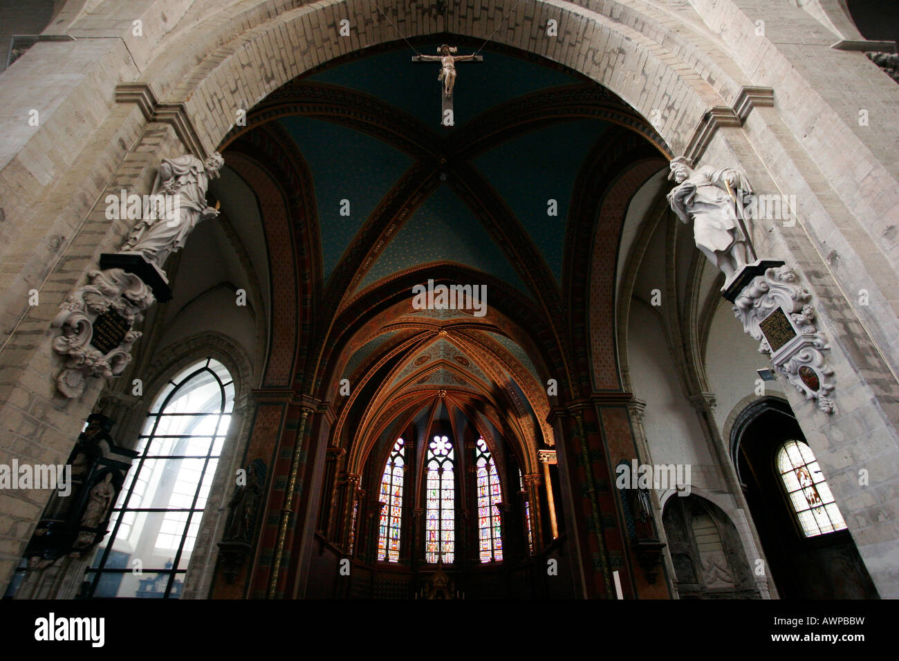 Interior view, fifteenth to sixteenth-century late Gothic architecture, Notre-Dame du Sablon Cathedral, Brussels, - Stock Image