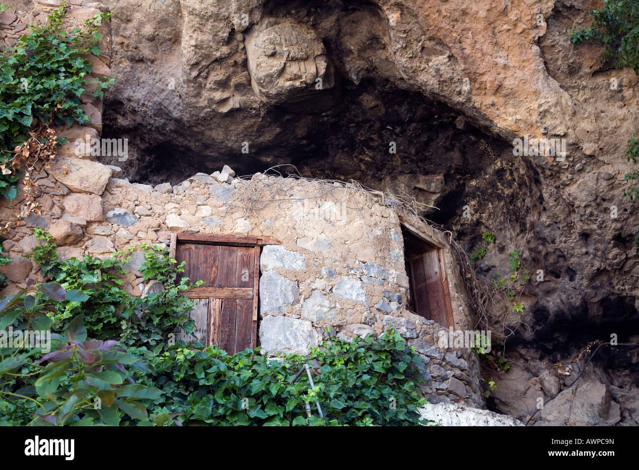 Entrance area of a monolithic home in La Coruna, Gran Canaria, Canary Islands, Spain, Europe Stock Photo