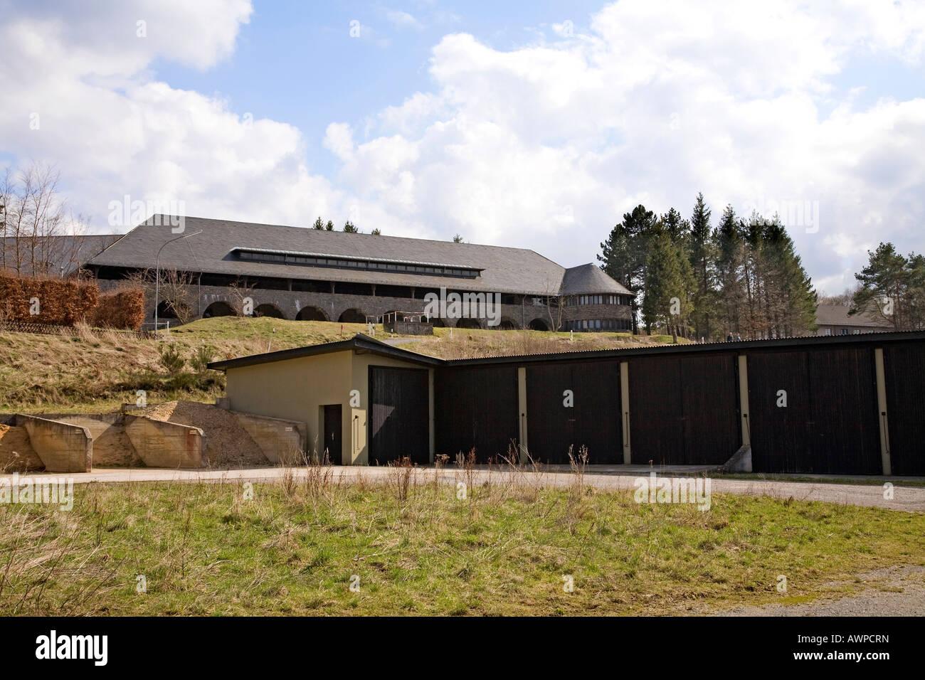 View of a comradeship-house, former NS-Ordensburg Vogelsang (National Socialist estate), Eifel, North Rhine-Westphalia, - Stock Image