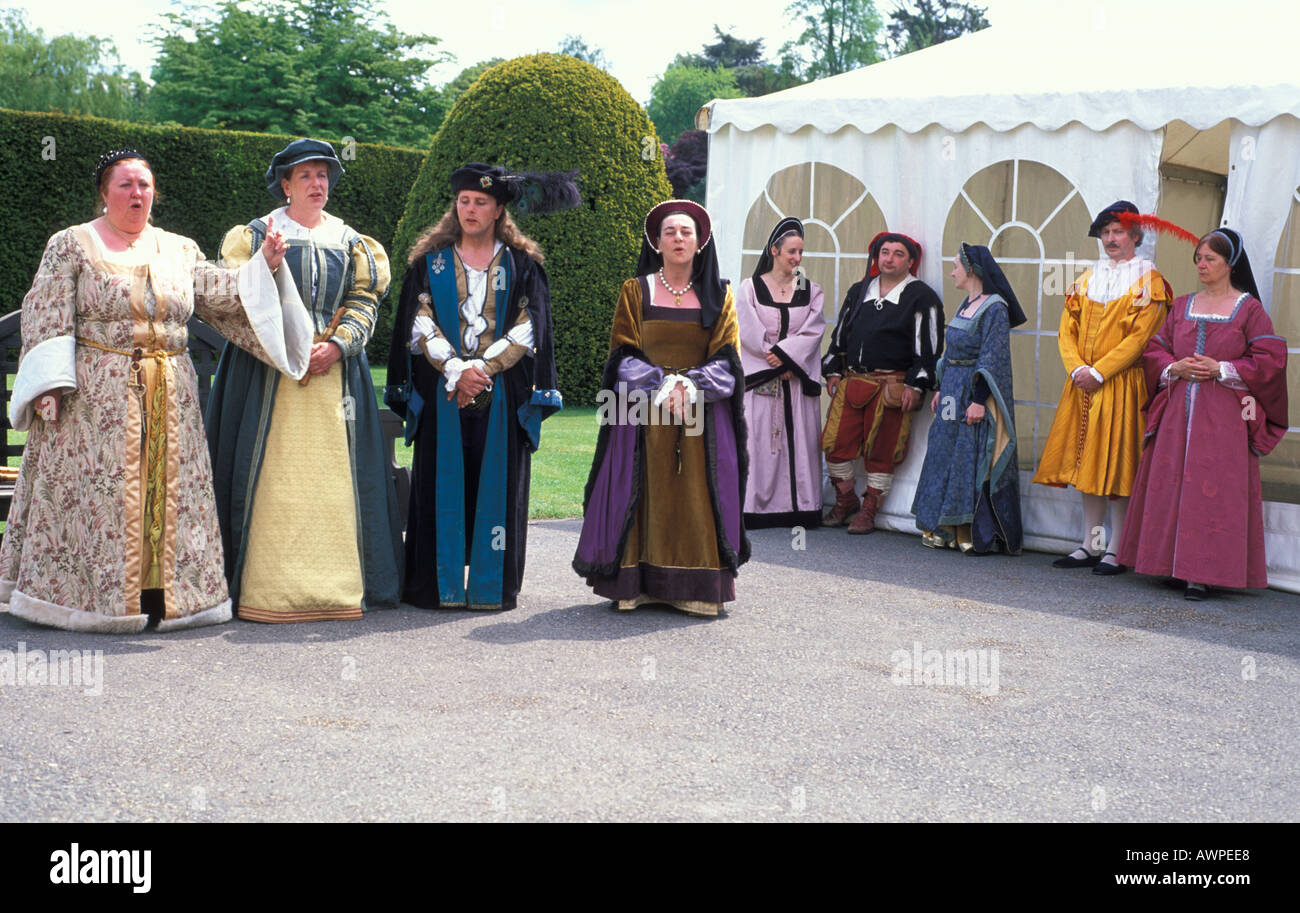 Elizabethan singing in traditional costumes in Hever Castle Kent England - Stock Image
