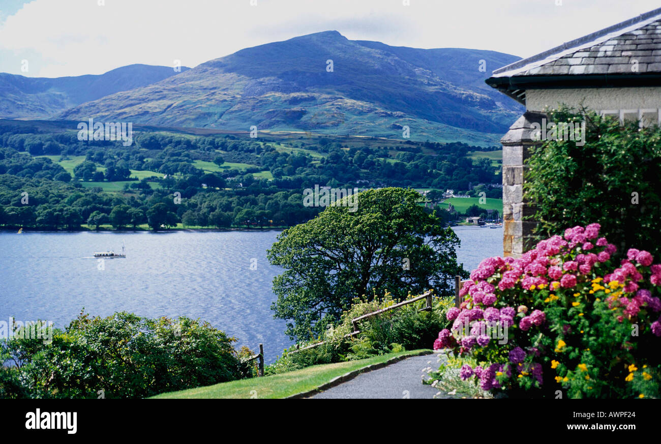 View of Coniston Water from Brantwood John Ruskin s Home The Lake District England - Stock Image