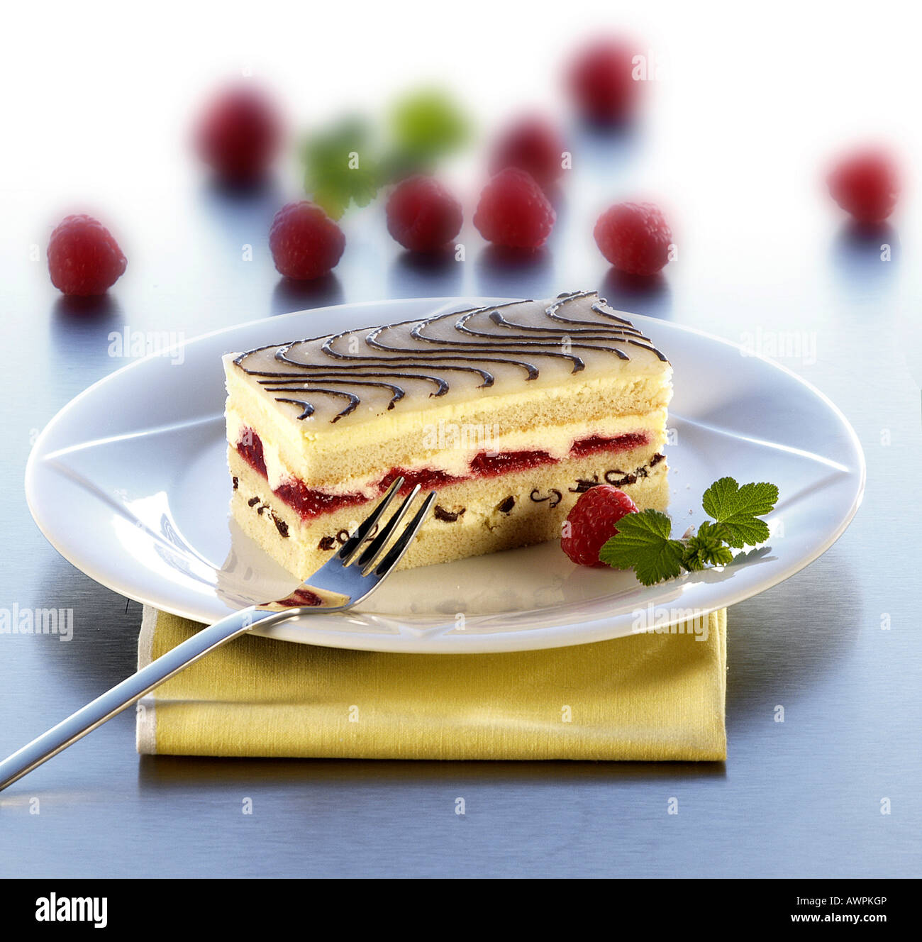 Raspberry Marzipan Torte Stock Photo 16633653 Alamy