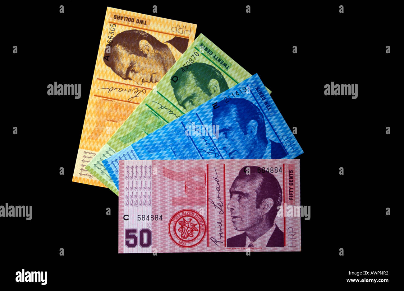 Currency of the Principality of Hutt River, self-declared microstate in Western Australia - Stock Image