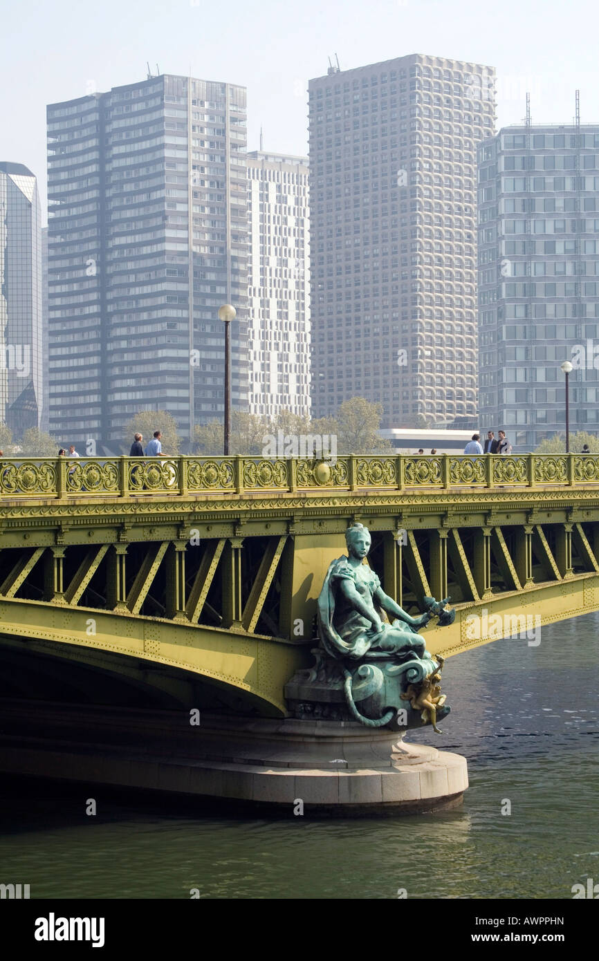 Pont Mirabeau, Seine River, and skyscrapers in Paris, France, Europe - Stock Image