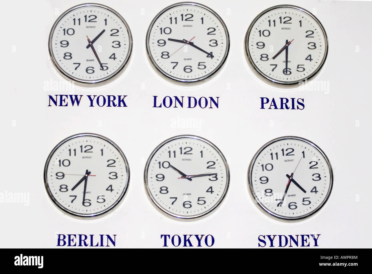 Time in different cities of the world - Stock Image