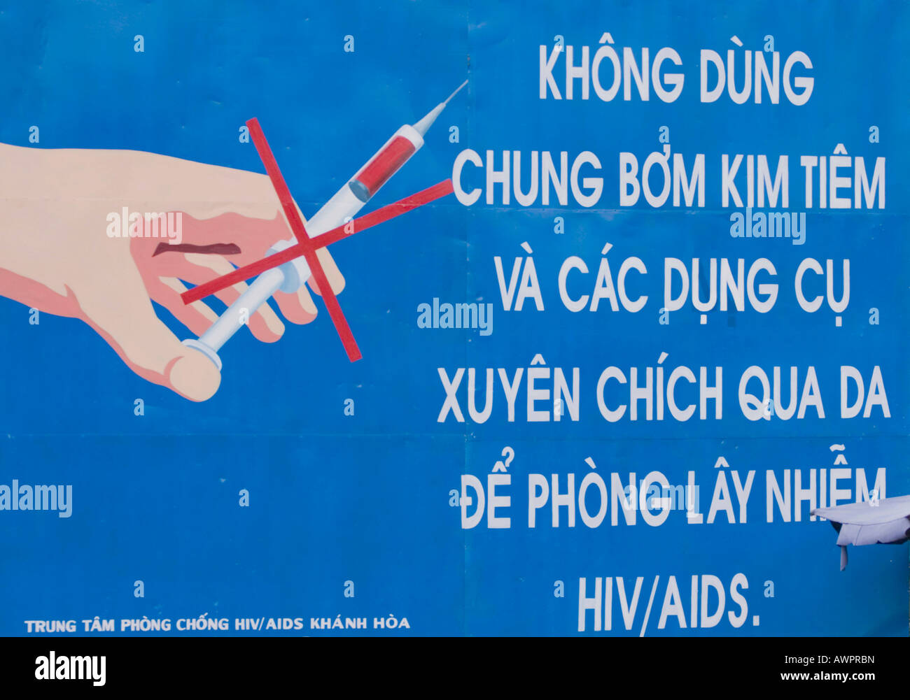 Information poster on Aids, HIV, Vietnam, Asien - Stock Image