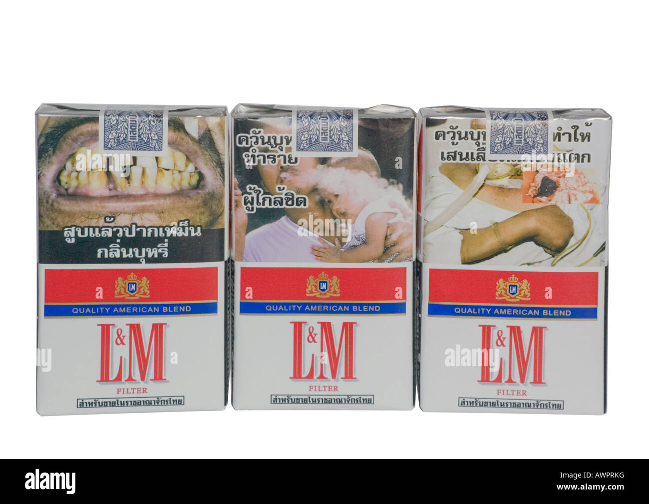 Warning notice on a cigarette box, Thailand Stock Photo