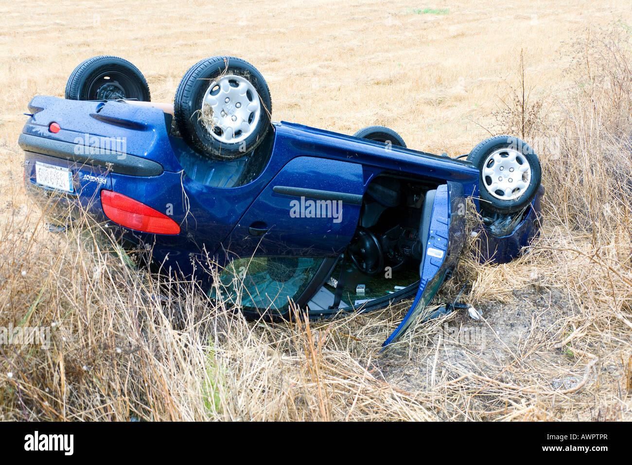 A crashed car - Stock Image