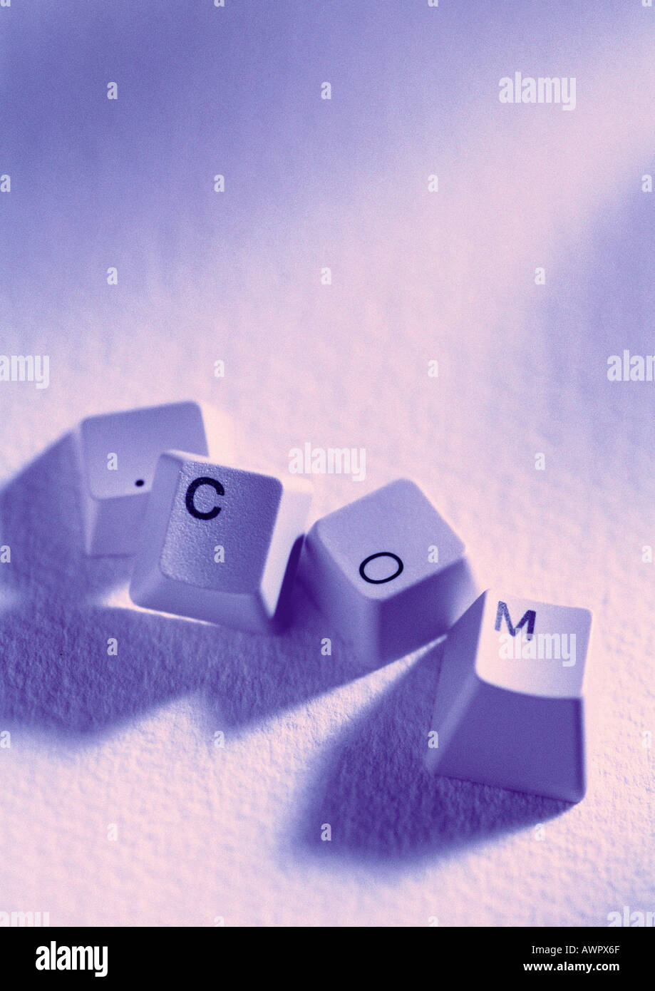 Computer keys spelling out .com - Stock Image
