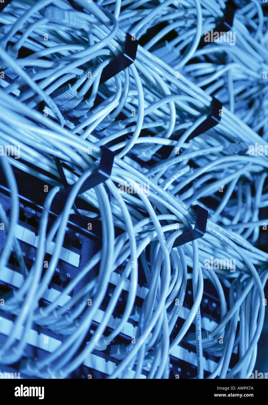 Computer wiring, close-up - Stock Image