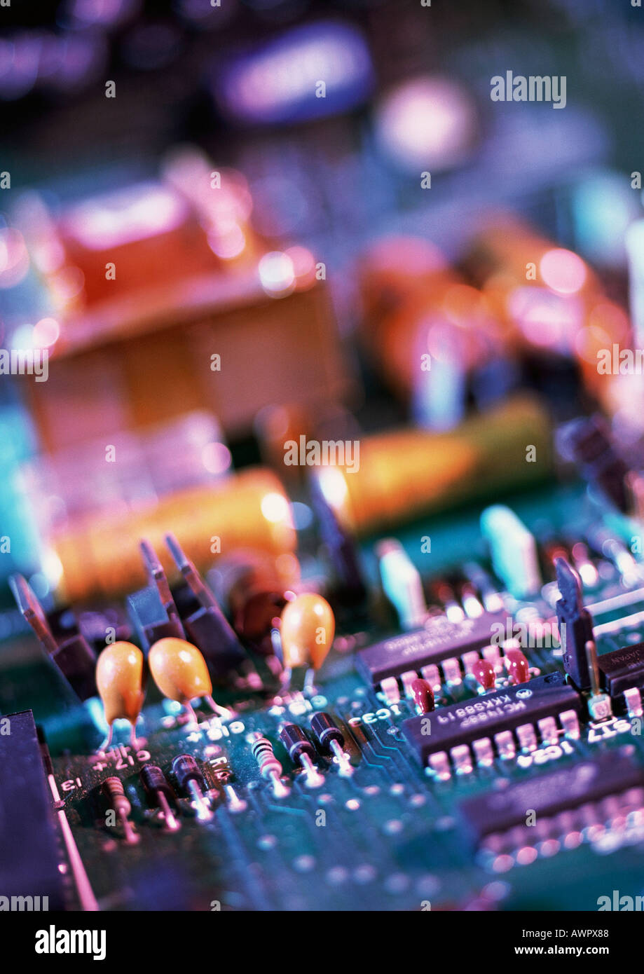 Circuit board, blurred, close-up Stock Photo