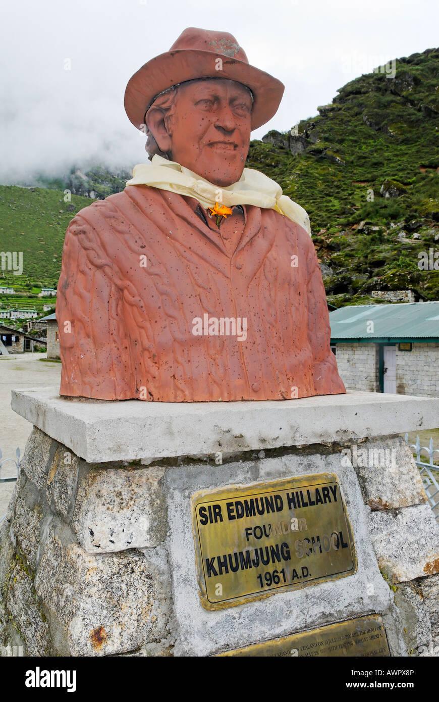 Monument for Sir Edmund Hillary, Khumjung, Sagarmatha National Park, Mount Everest region, Solukhumbu, Khumbu, Nepal - Stock Image